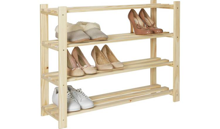 Habitat 4 Shelf Shoe Storage Rack - Solid Unfinished Pine