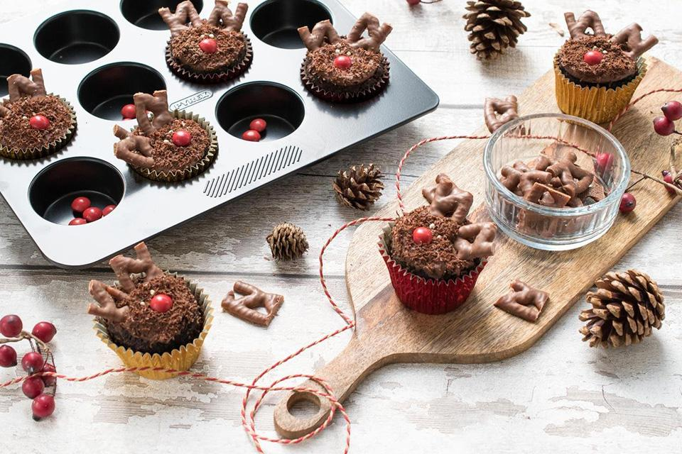 Rudolph the red nose reindeer cupcakes.