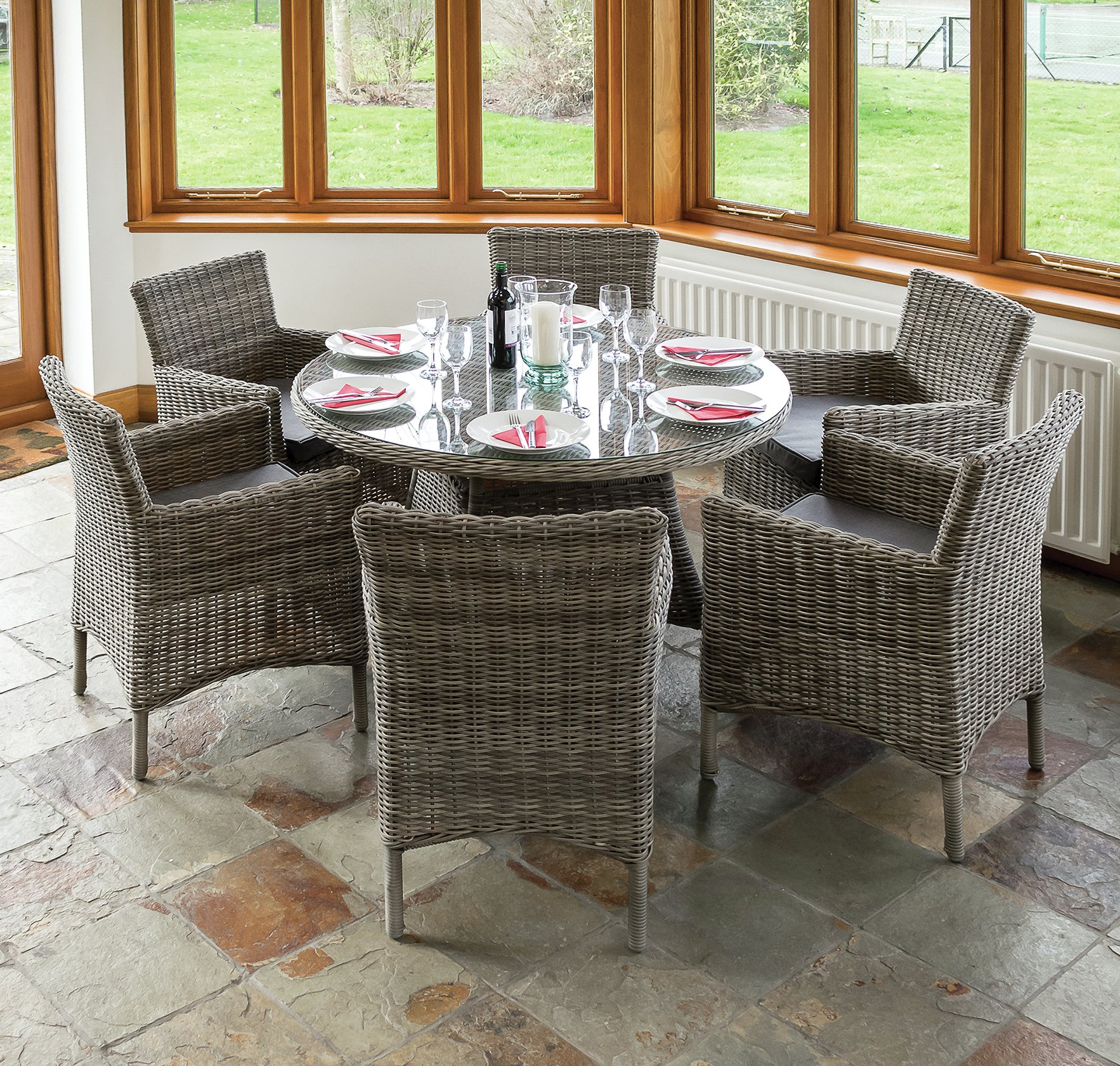 Richmond Rattan Garden Dining Set with 6 Chairs. lowest price