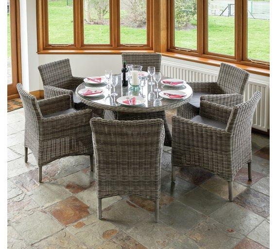 Richmond Rattan Garden Dining Set with 6 Chairs391/9057