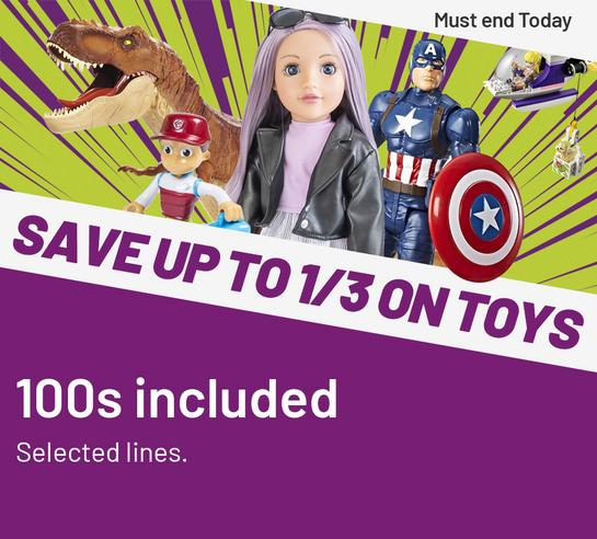 Save up to 1/3 on 100's of toys. Must end today.
