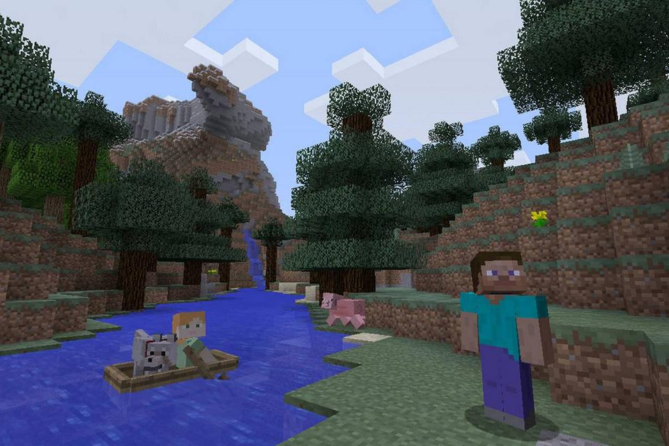 A screenshot from the video game Minecraft showing a character by a river.