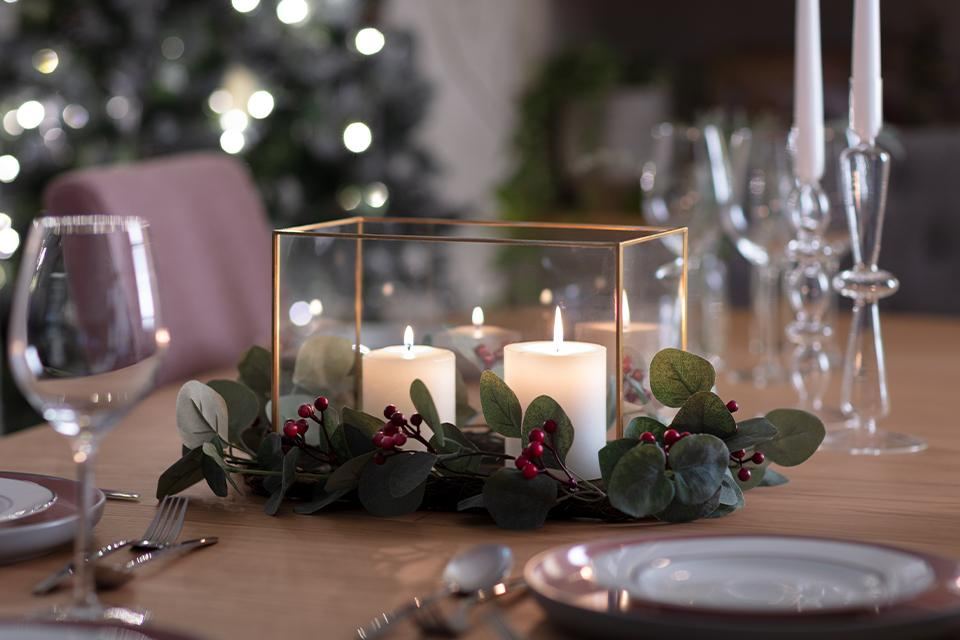 Christmas table centrepieces.