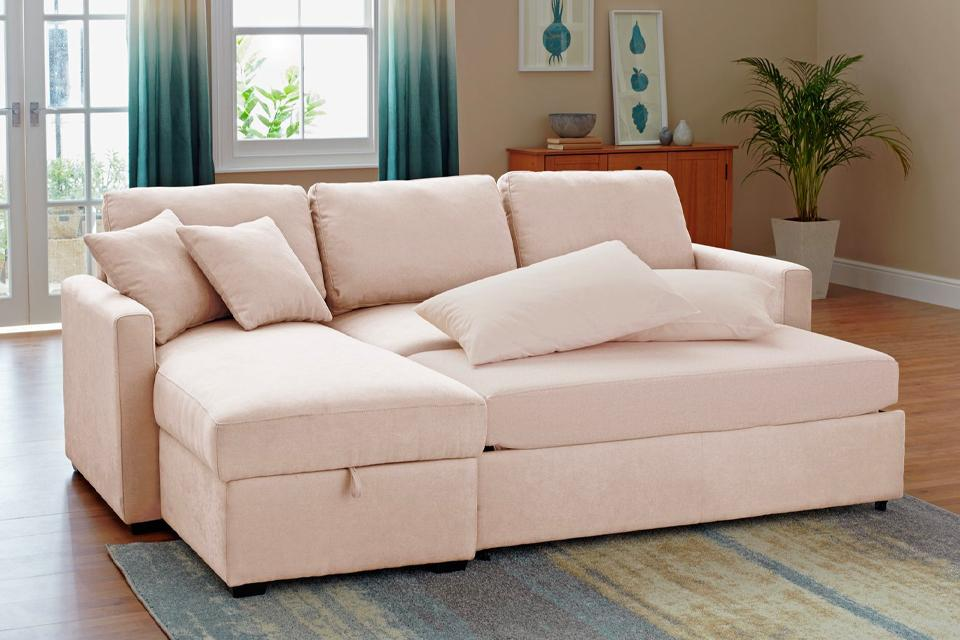 Argos Home Reagan Left Corner Fabric Sofa Bed - Natural.