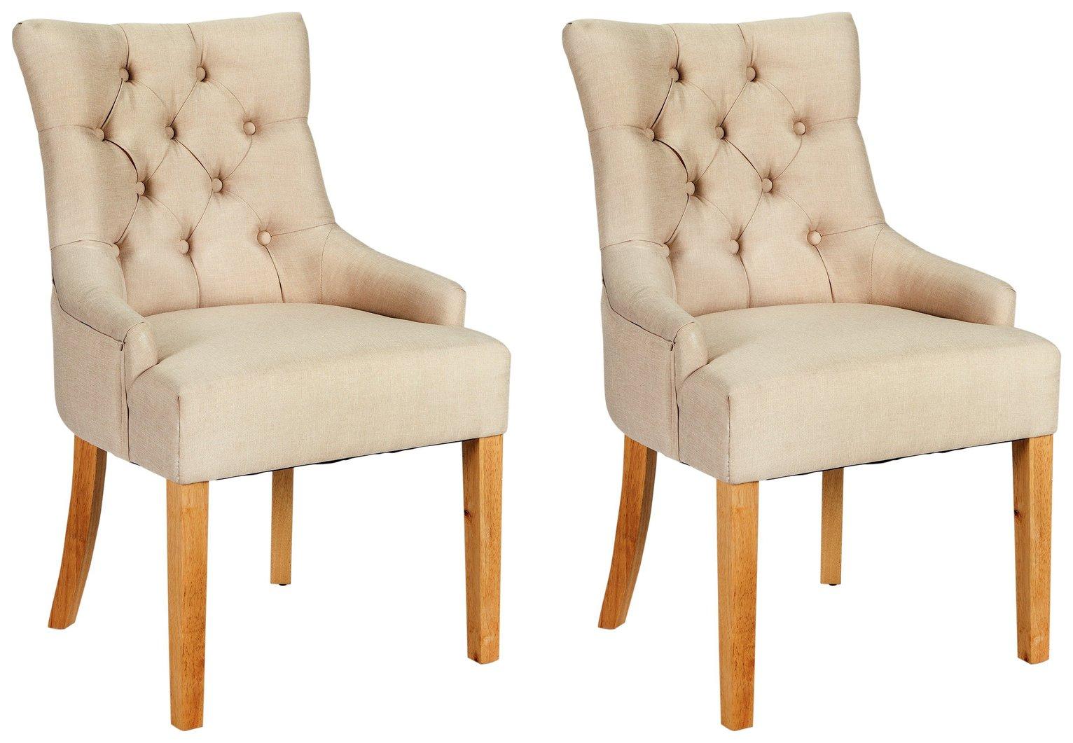 Argos Home Pair of Cherwell Dining Chairs - Cream