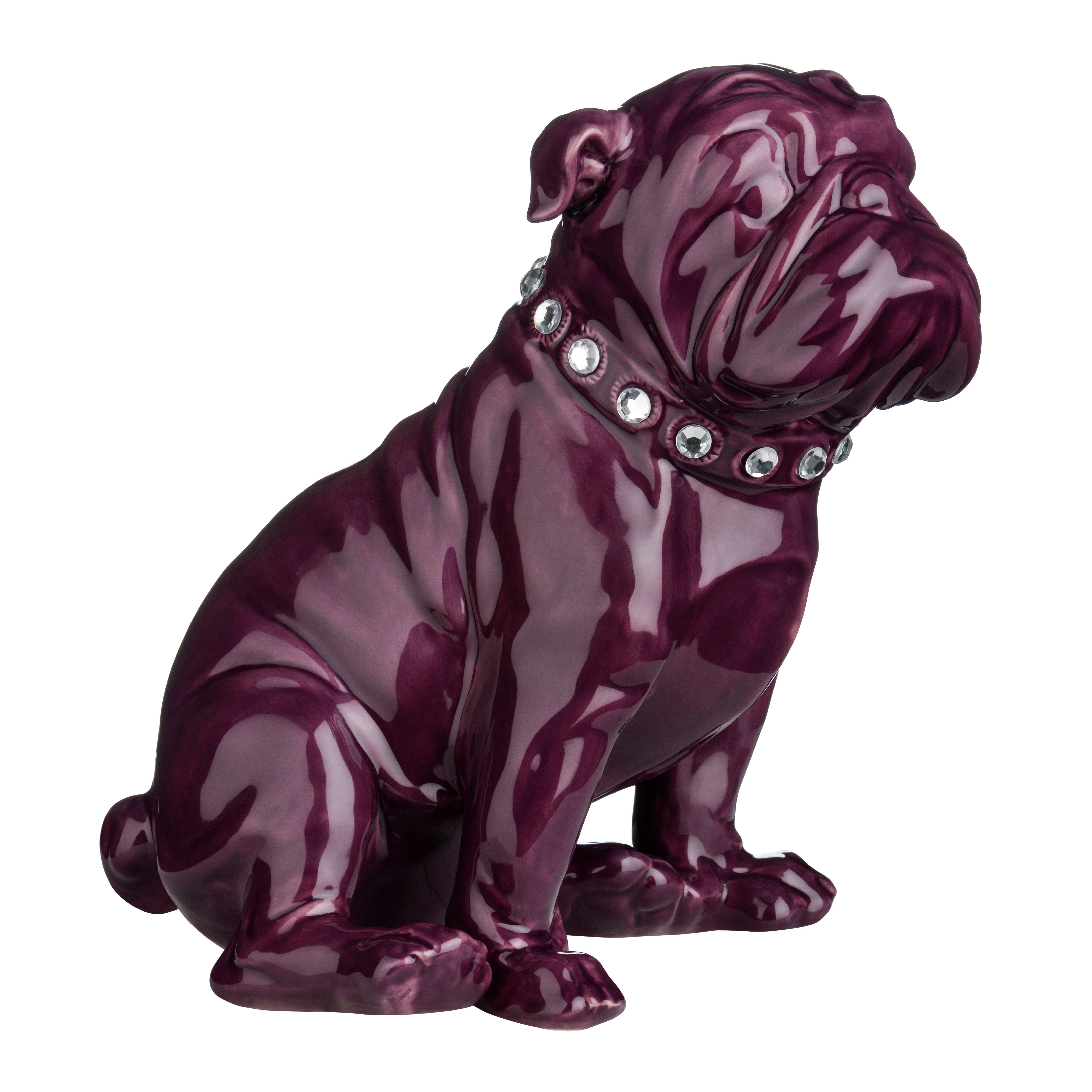 Premier Housewares Purple Ceramic Bulldog. lowest price