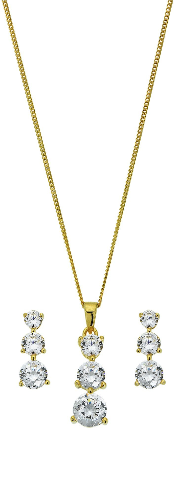 18 Carat Gold - Plated - Silver CZ Trilogy Pendant and Earrings.