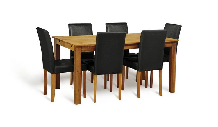 Argos Home Ashdon Solid Wood Dining Table & 6 Black Chairs