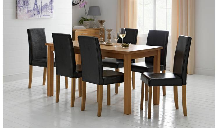 Buy Argos Home Ashdon Solid Wood Dining Table 6 Black Chairs Dining Table And Chair Sets Argos