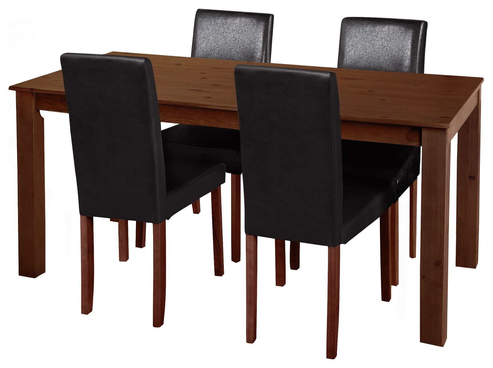 Image of HOME Ashdon Solid Wood Table & 4 Chairs - Black - Walnut Stain