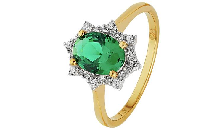 3d37dbc506b0e Buy Revere 9ct Gold Plated Sterling Silver Green & White CZ Ring | Dress  rings | Argos