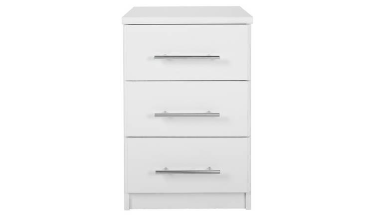 Argos Home Normandy 3 Drawer Bedside Table - White