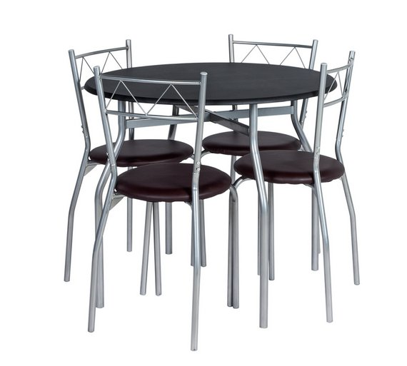 Buy Home Oslo Circular Dining Table And 4 Chairs Black At Your Online Shop For