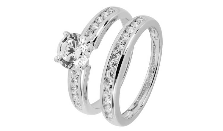 Revere Sterling Silver Cubic Zirconia Bridal Ring Set - V