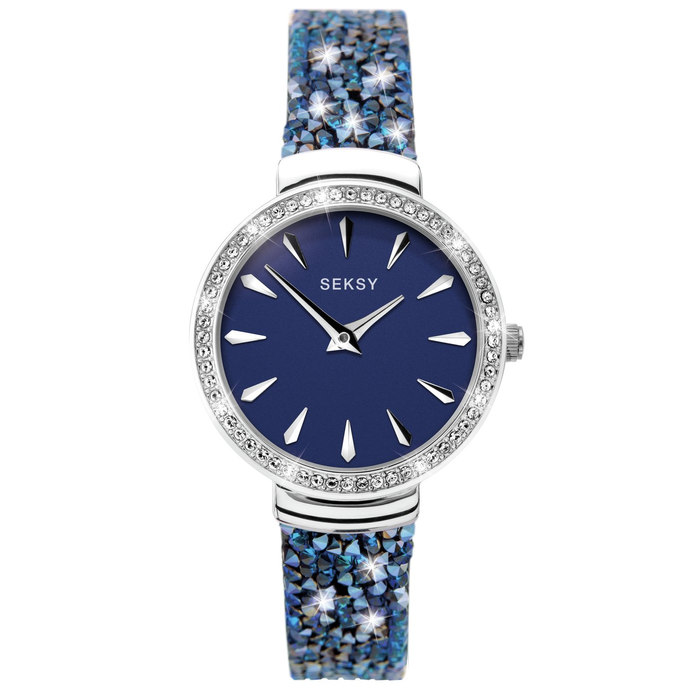 Seksy Ladies Black Leather Strap Watch with Blue Crystals