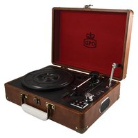 GPO Attache 3 Speed Portable USB Turntable - Vintage Brown.