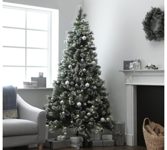 heart of house 7ft pre lit snow tipped christmas tree - 7 Ft Christmas Tree