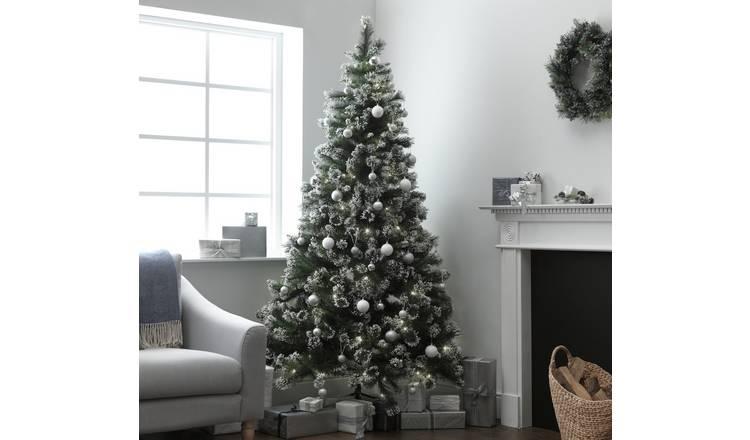 7 Ft Christmas Tree Prelit.Buy Argos Home 7ft Pre Lit Snow Tipped Christmas Tree Green Artificial Christmas Trees Argos