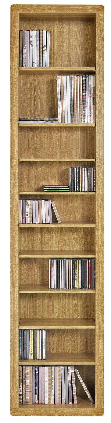Argos Home Portland DVD and CD Storage Tower - Oak Effect