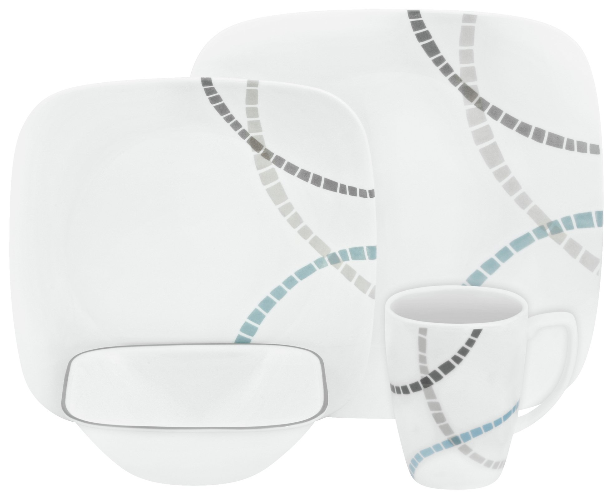 Image of Corelle Mosaic Bands 16 Piece Glass Dinner Set