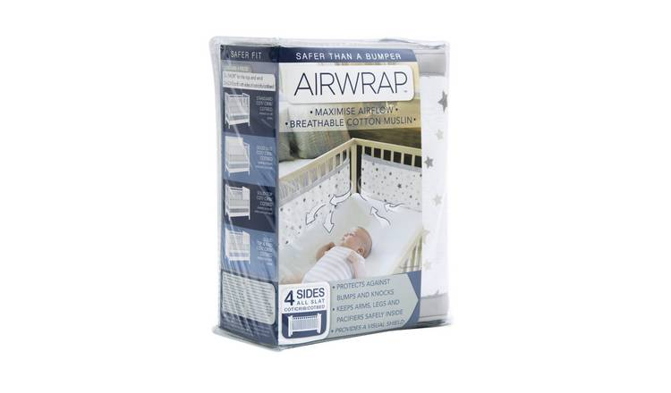 Airwrap Printed 4 Sided Cot Bumper - Silver Stars