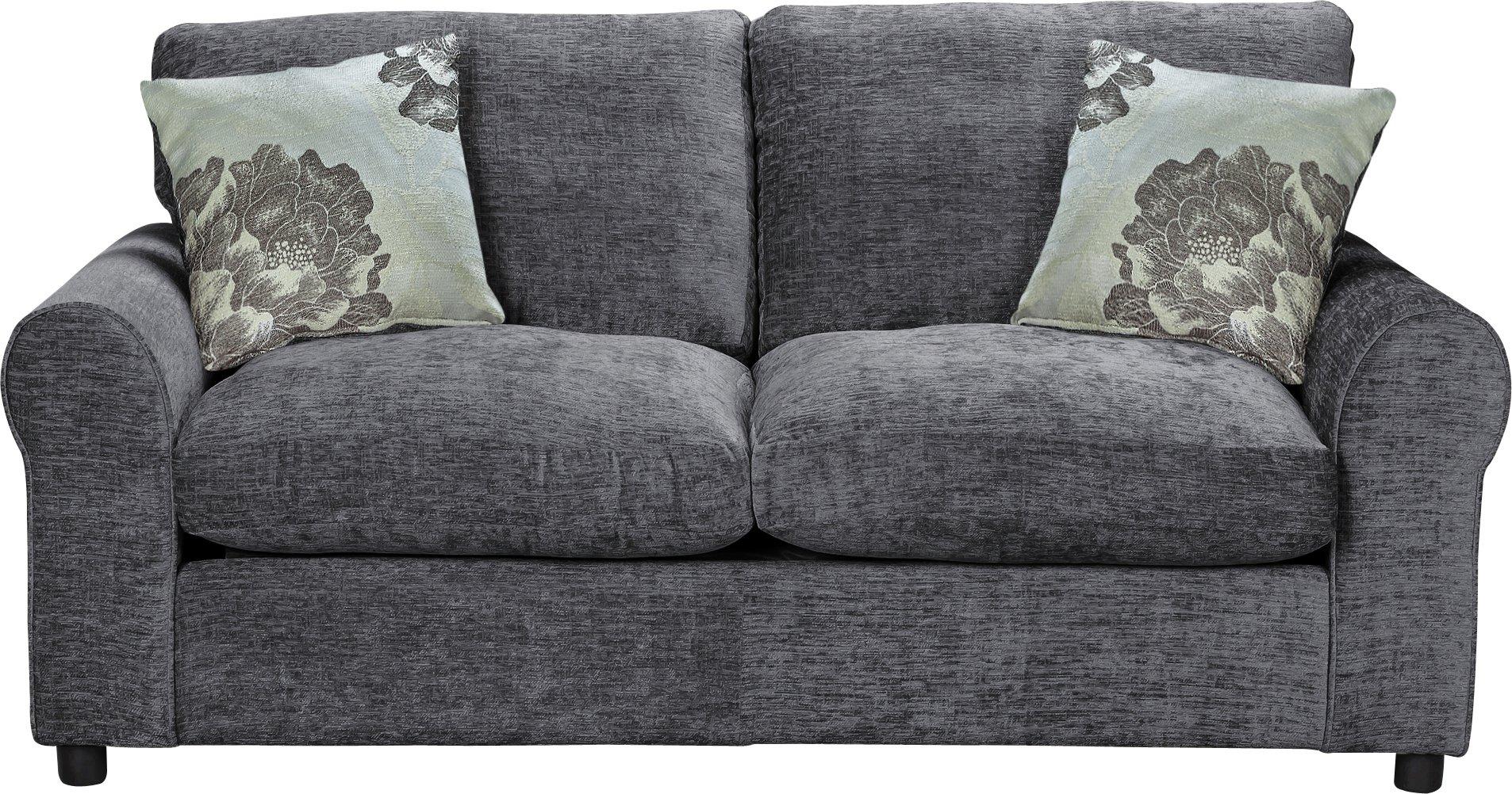 argos home tessa 2 seater fabric sofa bed charcoal. Black Bedroom Furniture Sets. Home Design Ideas