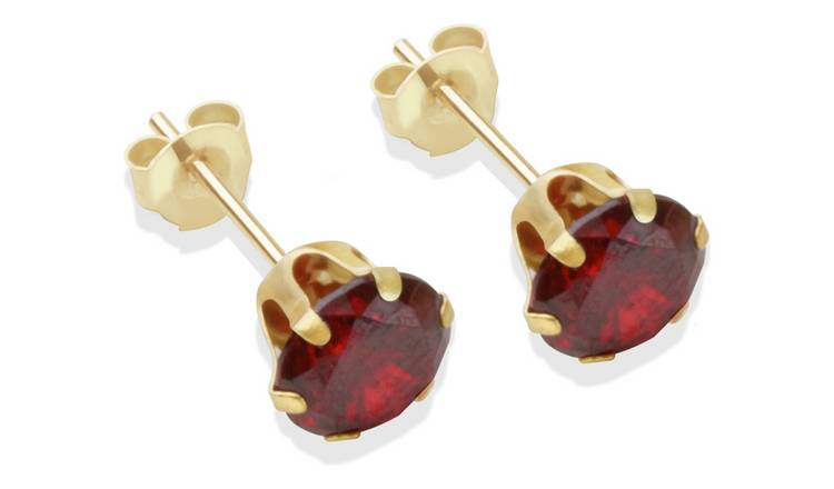 9ct Gold Garnet Coloured Cubic Zirconia Stud Earrings - 6mm