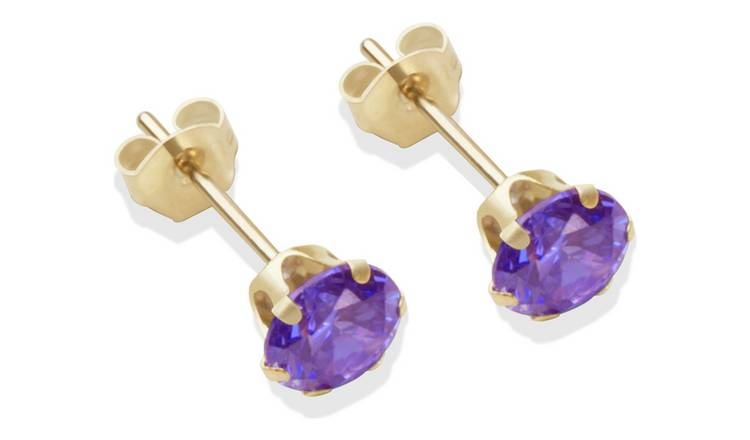 9ct Gold Amethyst Coloured CZ Stud Earrings - 5mm