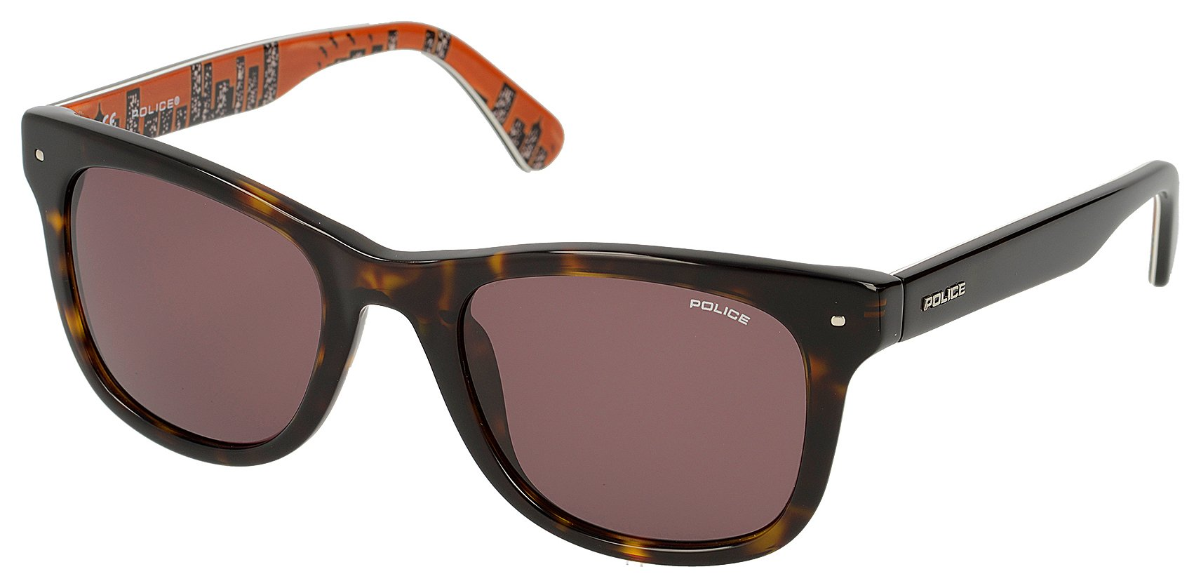 Image of Police Dark Havana Plastic Wayfarer with Brown Lens.