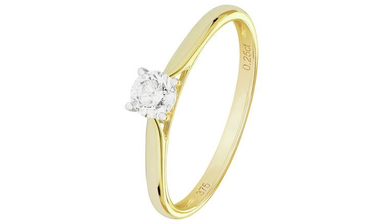 Revere 9ct Gold 0.25ct Diamond Solitaire Ring - P