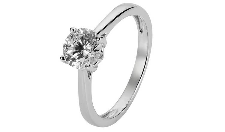 Revere Sterling Silver 6mm Round Cubic Zirconia Ring - L
