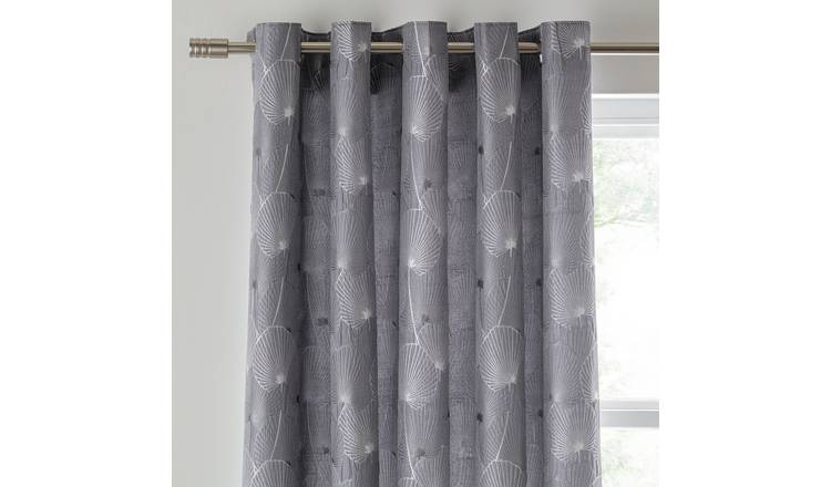 Argos Home Jacquard Fully Lined Eyelet Curtains - Charcoal
