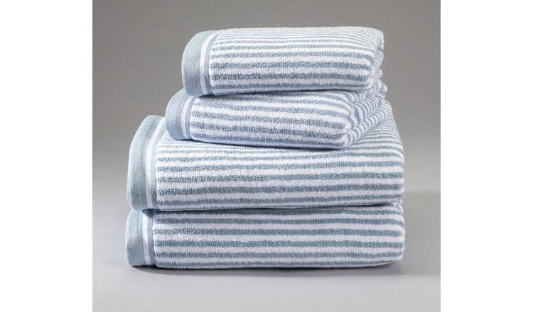 Argos Home Stripes 4 Piece Towel Bale - Blue & White