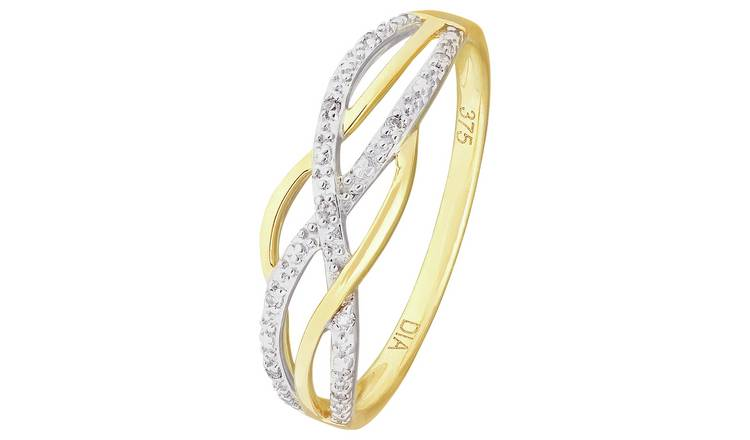 Revere 9ct Gold Diamond Accent Crossover Ring - U