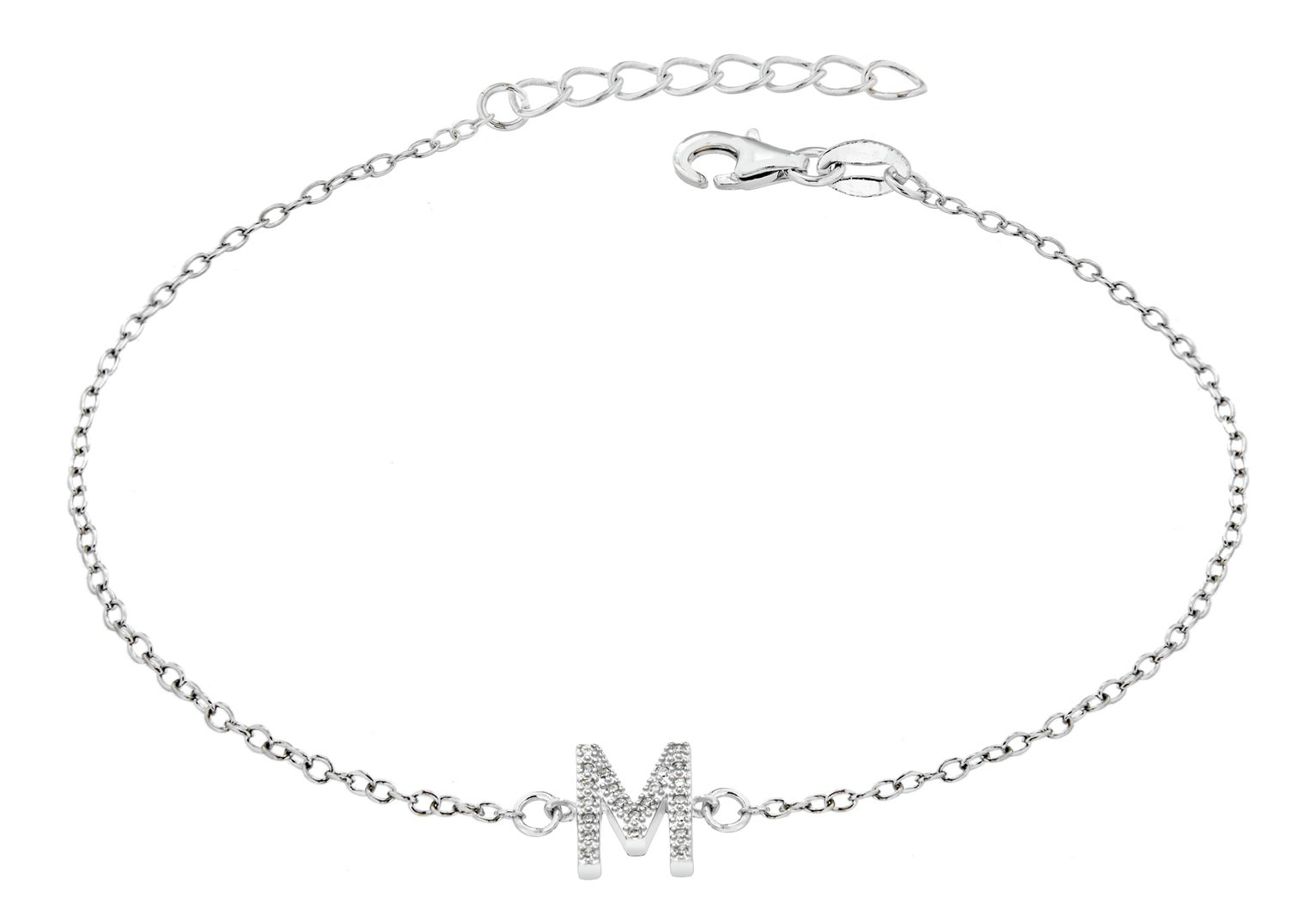 Sterling Silver Cubic Zirconia Initial Bracelet - M