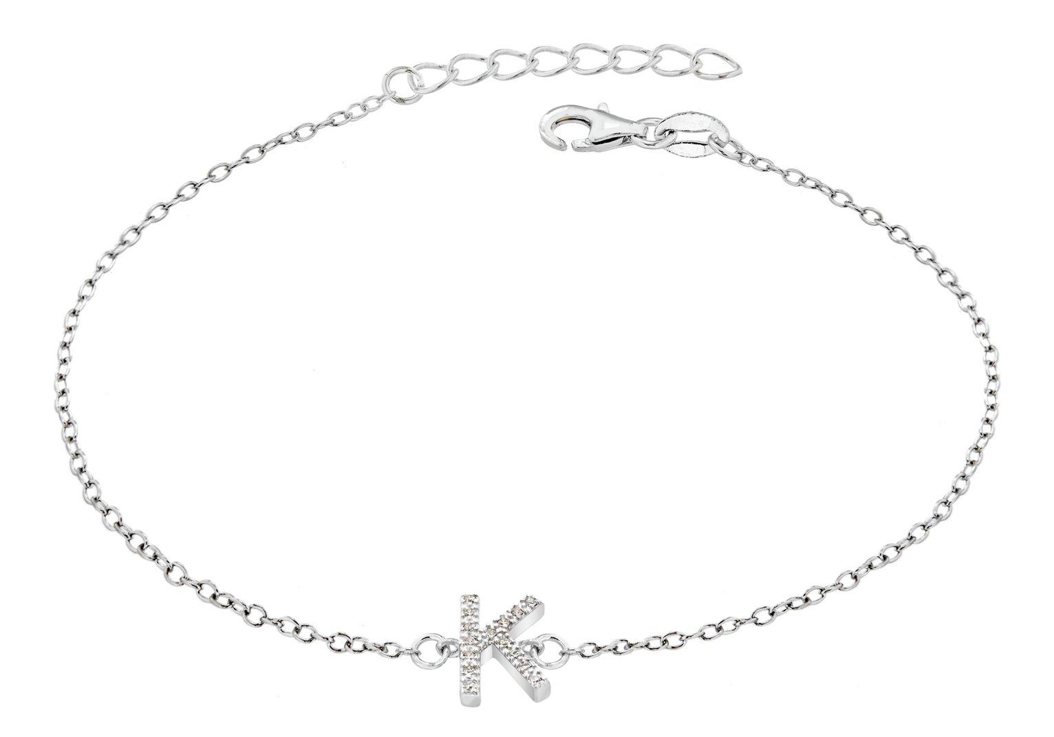 Sterling Silver Cubic Zirconia Initial Bracelet - K