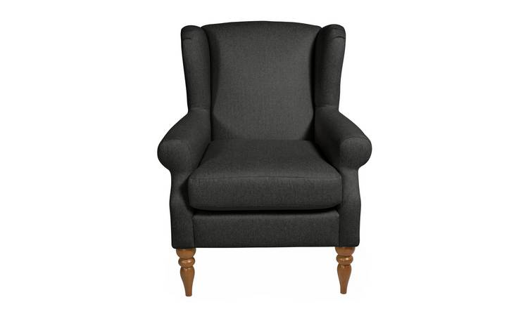 Habitat Bude Fabric Wingback Chair - Charcoal
