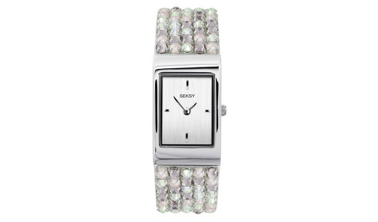 Seksy Rocks Ladies Silver/Pink Coloured Bracelet Watch