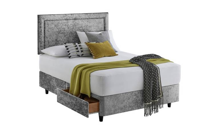Silentnight Toulouse Velvet Double 2 Drawer Divan - Silver