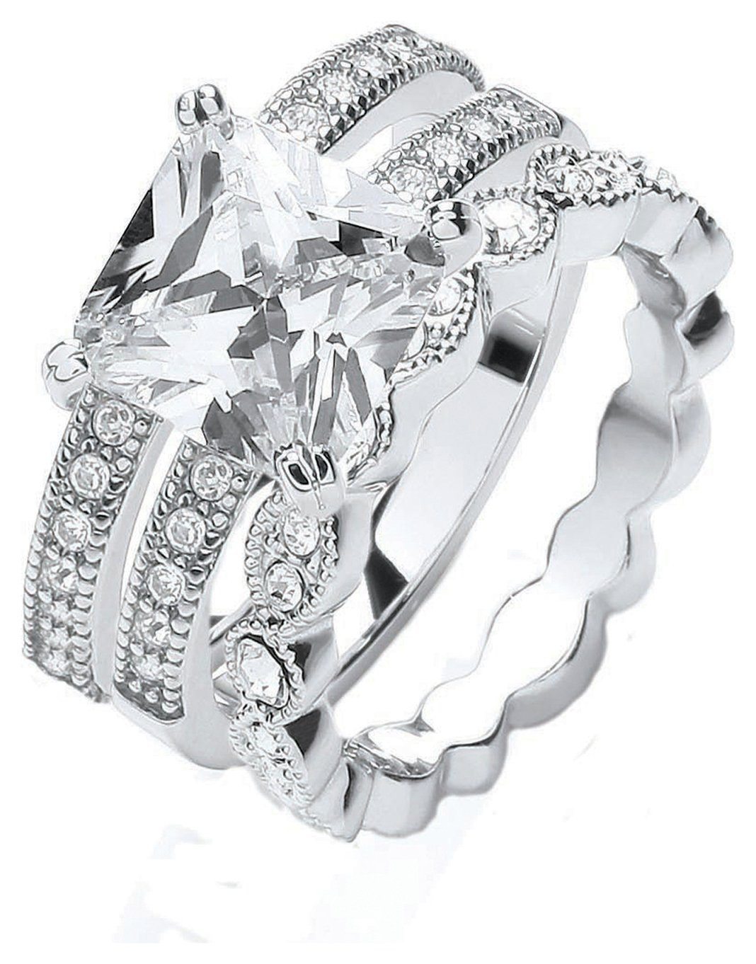 Buckley Silver Colour Vintage Style Stacker Rings - Small