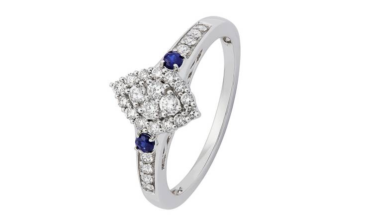 Revere 9ct White Gold Sapphire and 0.33ct tw Diamond Ring -N