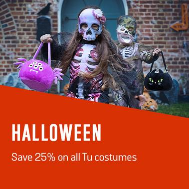 Halloween - Save 25% on all Tu costumes.