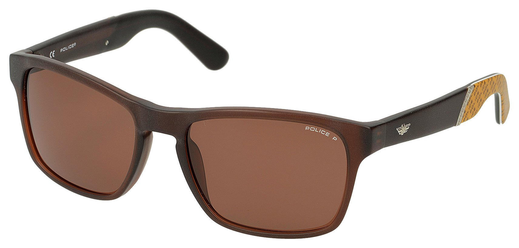 Image of Police Dark Brown Wayfarer with Brown Polarised Lens.