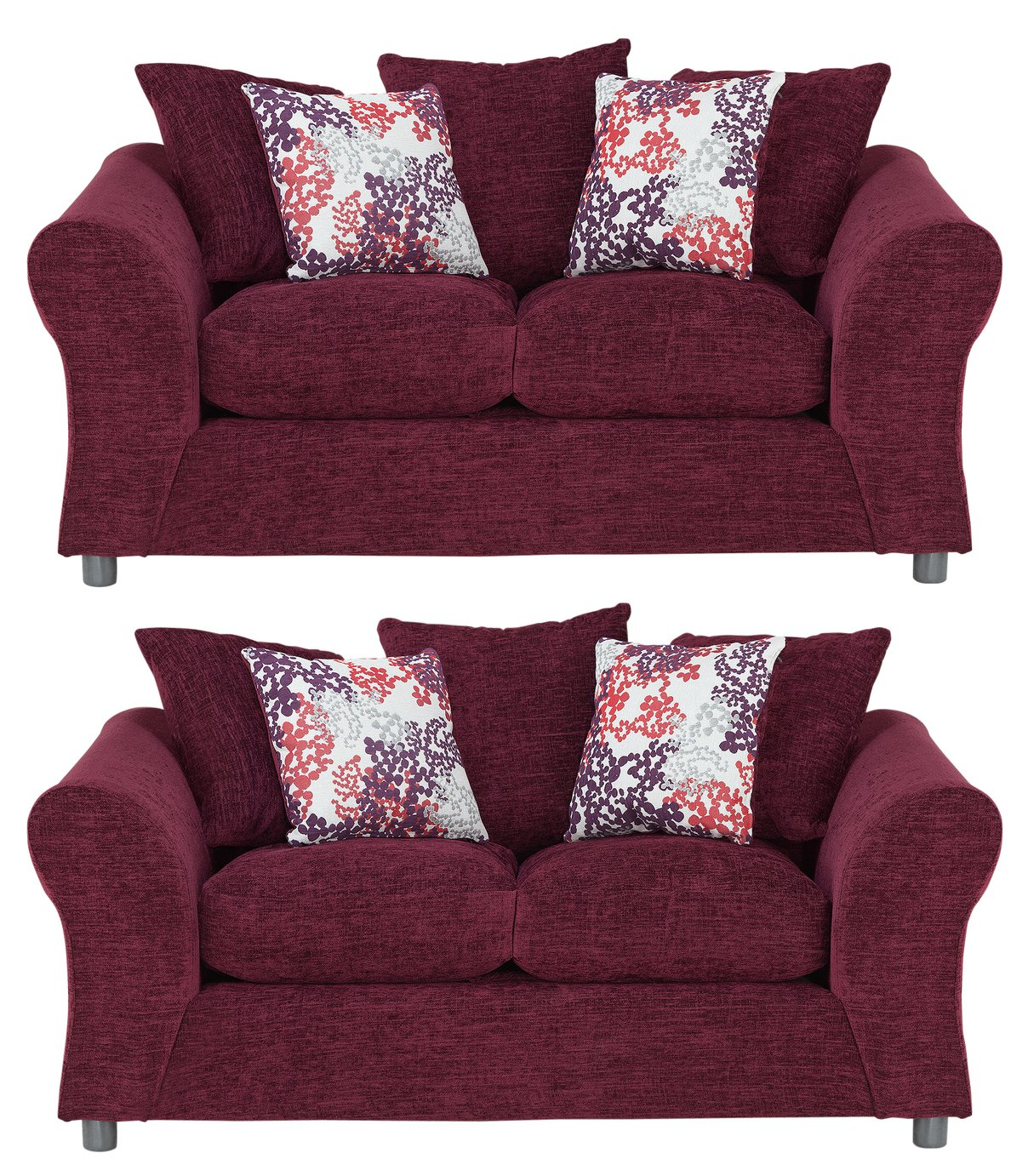 Argos Home - Clara Regular and Regular Fabric - Sofa - Plum