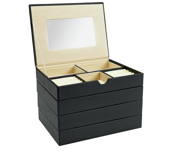 Black Faux Leather Stacking Jewellery Box