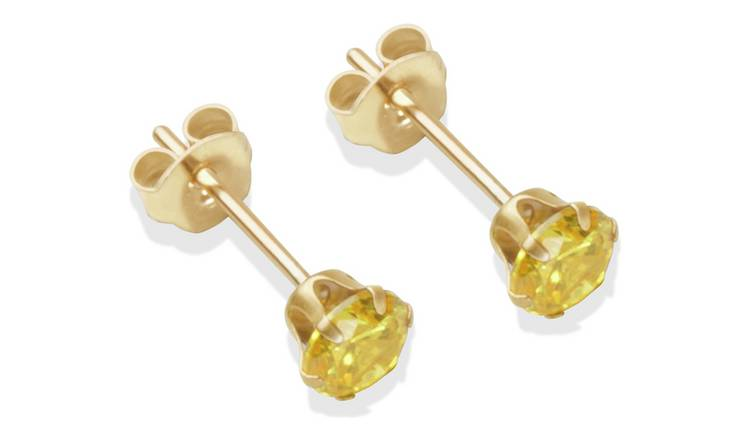 9ct Gold Citrine Coloured Cubic Zirconia Stud Earrings - 4mm