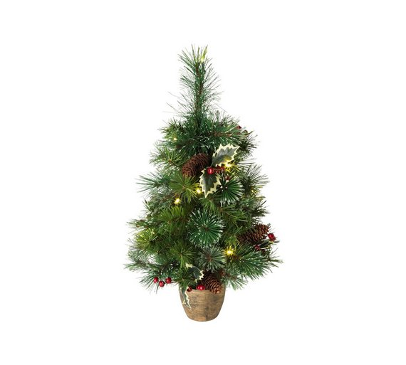 home 2ft pre lit snow tipped christmas tree green - 2 Ft Christmas Tree