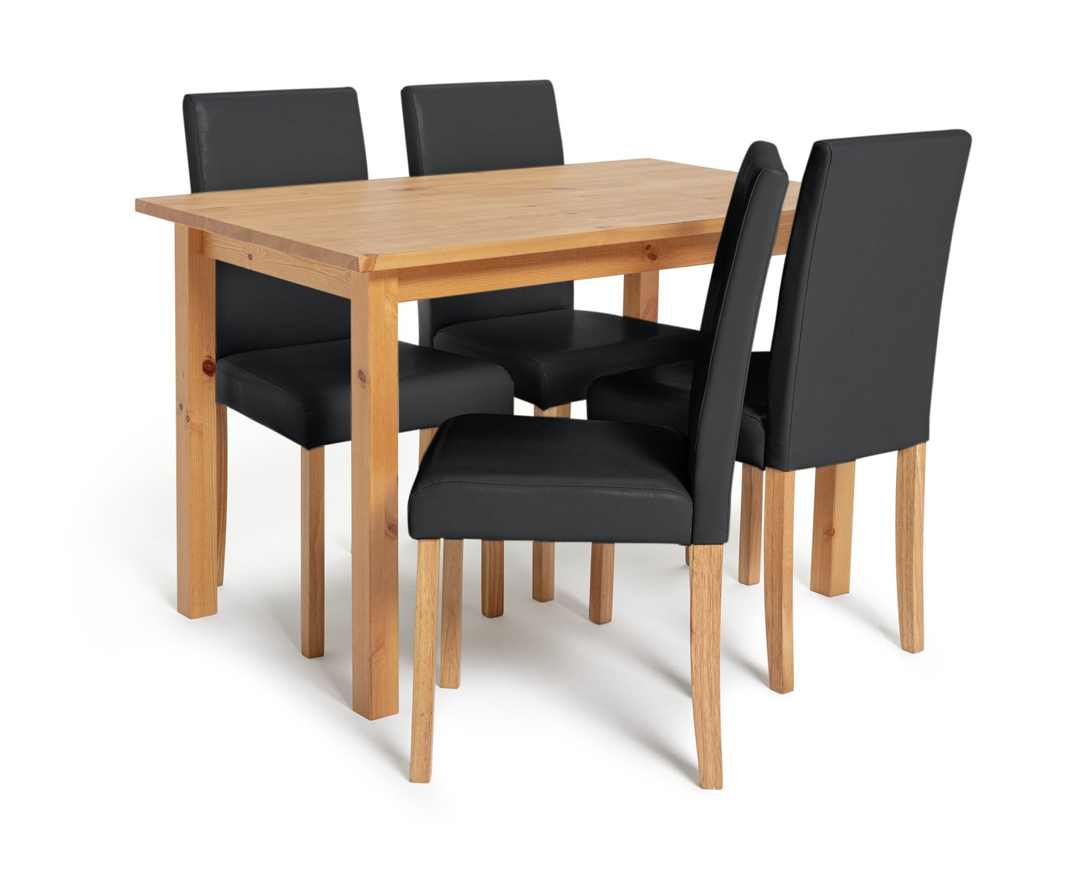 Argos Home Ashdon Solid Wood Dining Table & 4 Black Chairs
