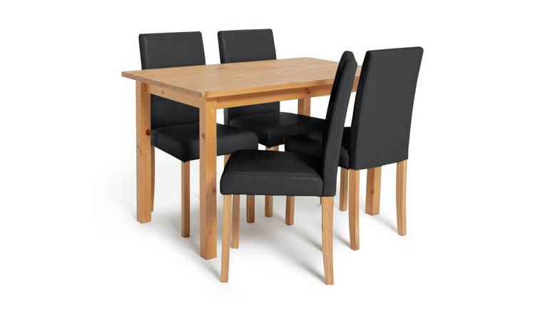 Habitat Ashdon Solid Wood Dining Table & 4 Black Chairs