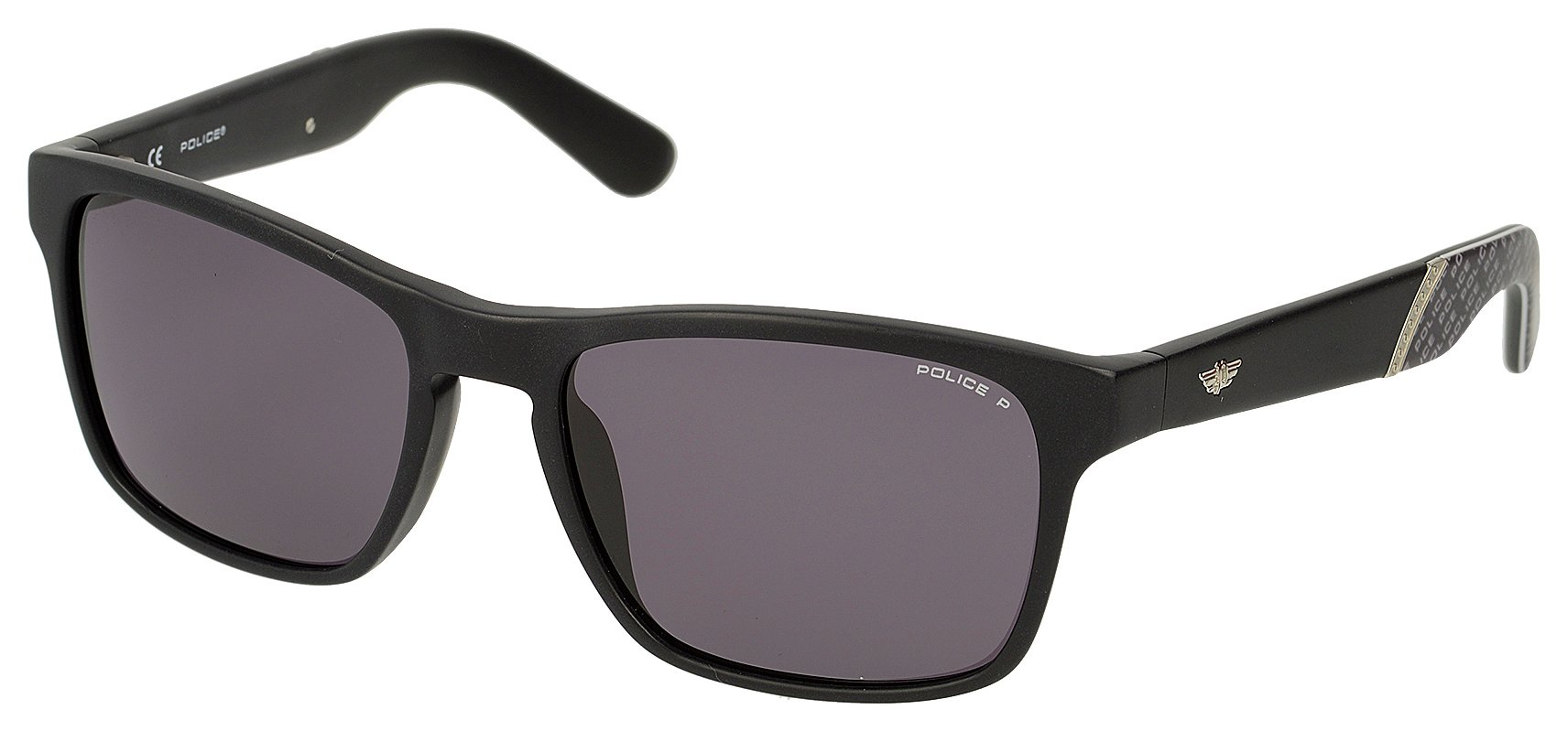 Image of Police Black Plastic Wayfarer with Grey Polarised Lens.